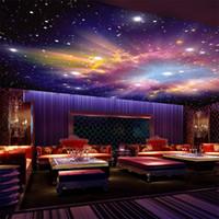 Individuelle Murals 3D Stern Nebula Night Sky Wandmalerei Decke Pocken Tapete Schlafzimmer TV Hintergrund Galaxy Theme
