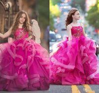 Vestidos de niña de flores Espaguetis Encajes de volantes Apliques Una línea Vestido de bola Barrer tren Chicas Vestir Vestido por encargo Niños Vestidos formales