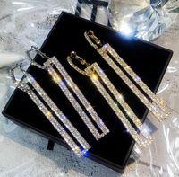luxury designer jewelry women earrings with shining crystal geometric style dangle earrings for party 9.2*1.1CM