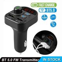 Kablosuz Araç İçi Bluetooth FM Verici MP3 Radyo Adaptörü Araç Kiti 2 USB Şarj FM Verici Alıcı Eller serbest Çağrı