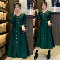Green Maternity clothing spring and autumn Long Sleeve new retro waist show temperament pregnant women dress