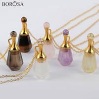 Borosa 3Pcs 26inch Garrafa Gild Amethysts Pedra Natural Perfume Colar Essencial difusor de óleos Rose Quartzs Colar WX1223-N