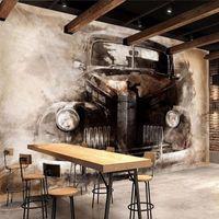 사용자 정의 3D 벽 벽화 벽지 복고풍 향수 클래식 자동차 벽화 연구 거실 침실 배경 화면 홈 인테리어 PAPEL 드에서 Parede