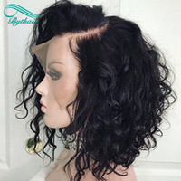 Curto Bob Curly Lace Front Humano Cabelo Perucas Prejuízes Cabelo Brasileiro Virgem Brasileira Cabelo Humano Completo Peruca Com Baby Hairs bythair