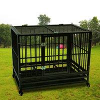 Pesada jaula de perro de servicio cajón de la perrera animal doméstico del metal parque infantil portátil con bandeja Negro Color de portador del perro