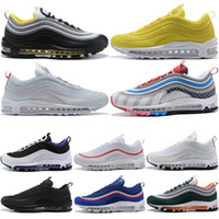 97 Mens Running Shoes Womens Almofada 97S OG Silver Gold Sneakers Esporte Athletic Men Sports Outdoor Sports Sapatos de grife Tamanho 5.5-11