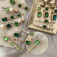 Kristallrhinestones Emerald Green Haarspange Barrette Frauen Mädchen Retro Haarnadeln