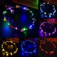 Мигающий LED Glow Rose Crown Повязки Свет Партии Rave Цветочные Волосы Гирлянда Венок Свадьба Цветочница Свадебный Головной Убор Гавайи Украшения