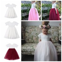 Baby Girls Summer dress INS Short Sleeve Lace Dresses Tulle Skirt Party Princess Dress Girls Little Kids Clothes KKA6597