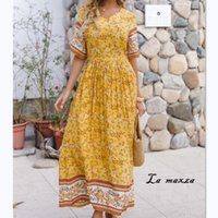 Elegant Bohemian Women Print Dress Fashion V- neck Maxi Dress...