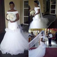 2021 elegante sirena al largo della spalla Abiti da sposa sudafricano con maniche corte Giardino satinato Abiti da sposa Stili caldi Vestidos de