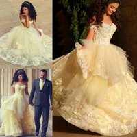 2019 Said Mhamad Arabic Light Yellow Ball Gown Quinceanera Dresses Prom Party Wear Sweet 16 Appliques Cansado Ruffles Vestido De Noiva