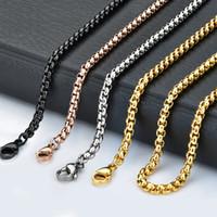 Carré en acier inoxydable 18-32 pouces Argent / Or Rose / Or / Noir 2.5mm Chaîne Pendentif Collier Bijoux pour femmes / hommes