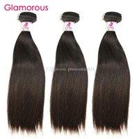 Cabelo virgem peruano glamoroso em linha reta 100% unprocessd cabelo humano trama 3 pacotes 100g / pcs barato extensões do cabelo indiano da Malásia brasileira