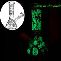 7.8 pulgadas Vaso Base Difuso Downstem Vidrio Con Bong Glow In The Dark Dab plataformas petrolíferas del tubo de agua por fumar 14mm Tazón