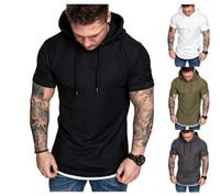 2019男性ラウンドネックソリッドカラーフード付き半袖Tシャツ縞模様のプリーツラグランスリーブヨーロッパとアメリカンメンズ服