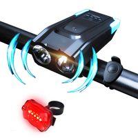 Vélo Lumière Set USB Batterie Rechargeable LED Vélo Avant Lampe de Sécurité Feux Arrières Avec Corne Cloche Étanche T6 Phare