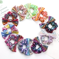 Girl Laser Hair Rope Band With Big Bow Sequins Kid Hair Elas...