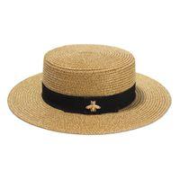 Модная широкополая шляпа Золотая металлическая пчела Модная широкая соломенная кепка Родительский ребенок Козырек с плоским верхом Тканая соломенная шляпа