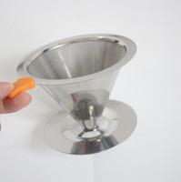 Aço inoxidável café de filtro cestas de malha coador despeje sobre Coffee Dripper Com Stand Holder filtro Cone reutilizável Coffee Cup LXL442-A