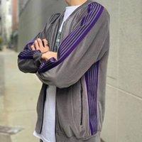 İyi Kalite AWGE İğneler Ceket Bay Bayan Casual Çizgili Kelebek Nakış AWGE ceketler Streetwear Coat