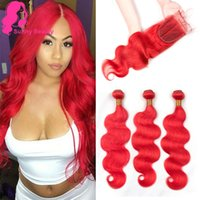 Pre Colored Hair Red Bundles With Closure Body Wave Remy Brazilian Human Hair Bundles With Lace Closure Sunny Beauty Hairstyle hair weaving