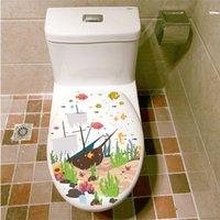 Colorido Underwater Sea Fish WC Wall Stickers Banho Loja Casa decorações de desenhos animados Animais Decalques PVC Mural Art