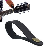 Black Leather Guitar Strap Titular botão de trava de segurança para acústica clássica da guitarra elétrica Baixo Acessórios