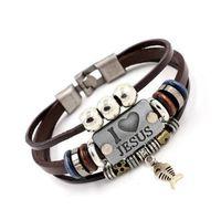 Я люблю ИИСУСА Шарм браслеты Vintage рыбы кулон Christian Многослойные кожаные браслеты для женщин Mens браслет GD115