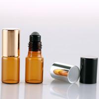 500 X 3ML فارغة العنبر رقيقة الزجاج البسيطة الرول أون زجاجة عطر عينة اختبار الأساسية قوارير النفط مع الأسطوانة المعدنية / الزجاج الكرة بالجملة