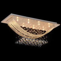 Modern Square Ceiling Crystal Chandeliers Lighting with 8 Li...