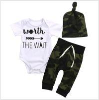 3pcs ensembles bébé été vêtements ensemble enfant à manches courtes barboteuses + pantalon camouflage + chapeaux vêtements pour bébé costume nouveau-né enfants tenues