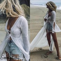 Hot Women Cover Up Solid Chiffon Bikini Vintage Long Sleeve ...