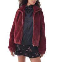 Warm neuer Qualitäts-Baumwollmantel Frauen Fluffy Outwear Plüsch mit Kapuze Hairy Frauen-Winter-Mantel-Rot Los Trench Pure Color Nove8