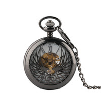 Beyaz Dial ile Man, İzle Hediyesi için Benzersiz Tasarım Cep Saatler Oyma Erkekler Klasik Mekanik Pocket Watch, Phoenix