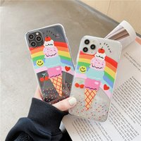 Para iPhone 11Pro máximo XR XS Max 6S 7 8 más la caja de crema de moda arco iris de hielo cubierta transparente