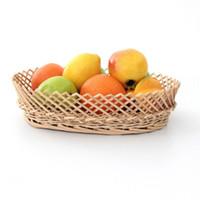 Hängende Körbe Obst Gemüse Lager Korb Wicker gewebt Serviert Display Organizer Küche ovale Spitze