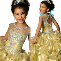 Ruffles Ball Gown Girls Pageant Dress Sheer Neckline Jewel Beads Lentejuelas Flower Girls Vestido para bodas Pliegues Hollow Back Vestidos de niños sexy