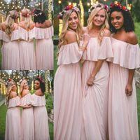 2019 chiffon lungo abiti da damigella d'onore elegante rosa fuori dalla spalla spiaggia bohemien damert d'onore festa di nozze plus size promuovo abito da balingo BA5035