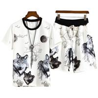 여름 3 차원 인쇄 늑대 망 스포츠 T- 셔츠 + 반바지 세트 Cool Tracksuit Men Suits 두 조각 캐주얼 남자 의류 크기 M-4XL