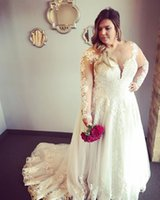 Vintage Lace 2019 Arabic Plus Size Wedding Dresses Sheer Nec...