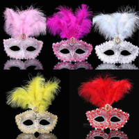 Mask feathers wedding party masks masquerade mask Venetian m...