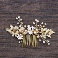 Acessórios nupcial Golden Leaf metal do cabelo Combs Jóias Noiva Cabelo Pearl Comb Tiaras Headpiece cabelo casamento Jóias