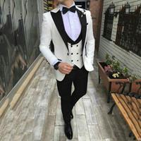 Iovry Anzüge für Herren-Hochzeit Neueste Spitzen Designs Bräutigam Smoking 3Piece (Mantel + Pants) Bester Mann Blazer Kostüm Homme Man Outfits Terno Masculino