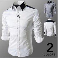 Simple boutonnage Shirt Hommes Casual 2018 Patchwork Braid design Bried style à manches longues Fashion collier vers le bas Tourner Hot Sale Livraison gratuite