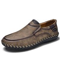 남성 로퍼 브랜드 품질 분할 가죽 통기성 남성 캐주얼 운전 옥스포드 신발 모카신 스니커즈 남성 플랫 신발 신발