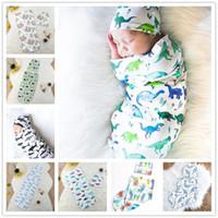 المولود الجديد أكياس النوم + القبعات 2PCS مجموعة INS لطيف الكرتون الحيوان طباعة قمط بطانيات النوم Swaddles كاب الشاش التفاف النوم كيس E22602
