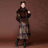 Vente en gros gradient réel Manteau de vison à long naturel manteaux de fourrure femmes hiver chaud-vêtement Veste de luxe en cuir véritable 5XL S003
