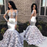 Glamorous 3D Gül Çiçekler Mermaid Gelinlik Modelleri 2019 Aplikler Boncuk Sheer Uzun Kollu Akşam elbise Gümüş Sıkı Saten Robes de Soirée