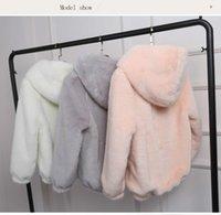 Женский меховой меховой искусственный плюс размер розовый пушистый палочкой с капюшоном женщины белый теплый с длинным рукавом верхняя одежда зима пушистая шерсть куртка